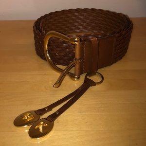Michael Kors Braided Leather Belt Size XL